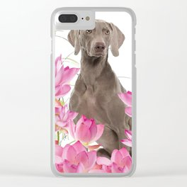 Weimaraner Lotos Flowers Clear iPhone Case