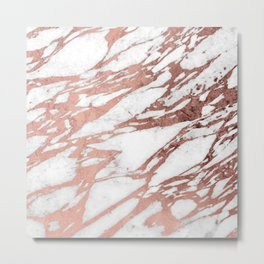 Rose Gold Faux Foil and White Marble Pattern Metal Print