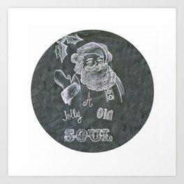 Santa St. Nick Chalkboard holiday message Art Print