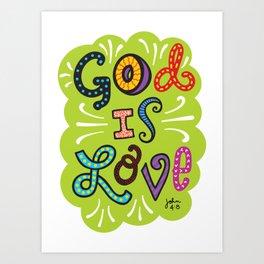 God is Love Color Art Print
