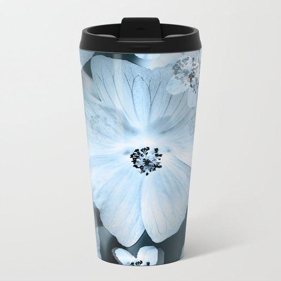 Flower-power - pastel blue flowers on a dark blue background Metal Travel Mug