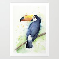 toucan Art Prints featuring Toucan by Olechka