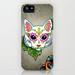 White Cat - Day of the Dead Sugar Skull Kitty iPhone Case