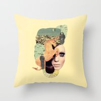 aquarius Throw Pillows featuring Aquarius by Francisca Pageo