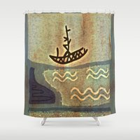 boat Shower Curtains featuring Boat by Menchulica