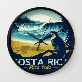 Costa Rica Retro Vintage Travel Poster Toucan Wave Surf Palm Trees Wall Clock