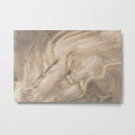 Pantone Hazelnut Flowing Pearlescent Haze, Opalescent Fluid Art Metal Print
