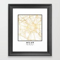 MILAN ITALY CITY STREET MAP ART Framed Art Print