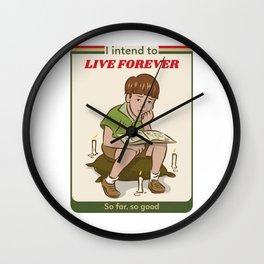 Live forever Retro Postcard Illustration Wall Clock