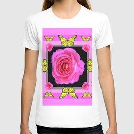 Lavender Fuchsia Pink Rose Butterfly Art T-shirt