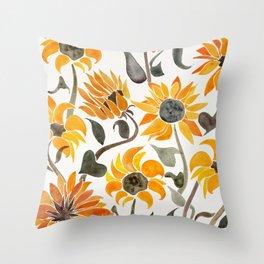 Sunflower Watercolor – Yellow & Black Palette Deko-Kissen