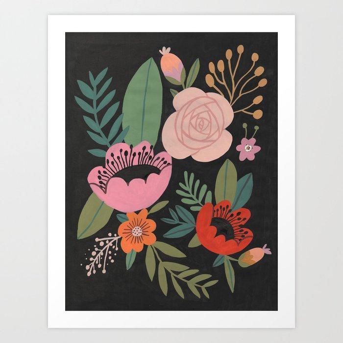 Floral Guache Art Print