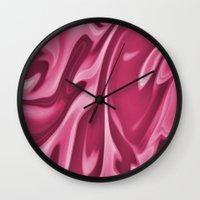 burgundy Wall Clocks featuring Burgundy by Paula J James