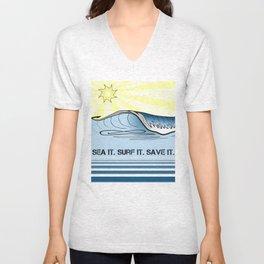 Sea It ~ Surf It ~ Save It Unisex V-Neck