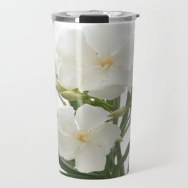 White Oleander Flowers Close Up Isolated On White Background  Travel Mug