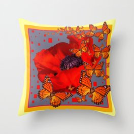 Abstract Red Poppy Monarch Butterflies Yellow-Grey Throw Pillow