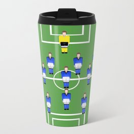 Football Soccer sports team in blue Metal Travel Mug