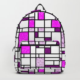 Modern Art Pink and Purple Speckled Grid Pattern Backpack