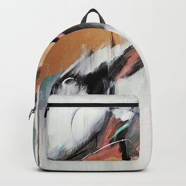 Head in the Clouds: colorful abstract piece in pink, teal, gold, black and white Backpack