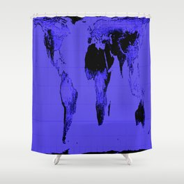 World Map: Gall Peters Indigo Purple Shower Curtain