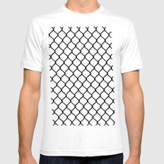 Chain Link Black on Blush White Mens Fitted Tee SMALL