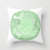 namaste Throw Pillows featuring Namaste by Camila Fernandez