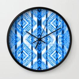 Blue Tribal Geometric Wall Clock