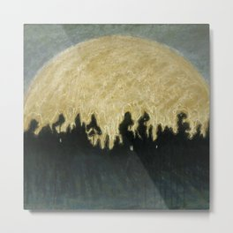 Early Summer Sun Rise over the forest landscape by Mikalojus Konstantinas Ciurlionis Metal Print
