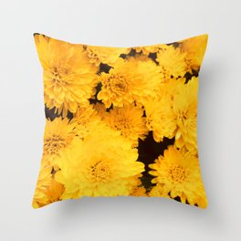 Bright Golden Holiday Mums Throw Pillow