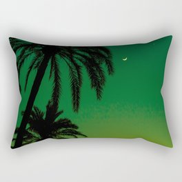 Tropical Palm Tree Silhouette Green Ombre Sunset Crescent Moon At Night Rectangular Pillow