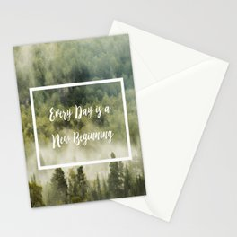 Green rainy forest with fog quote Stationery Cards