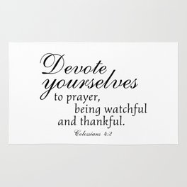 Devote prayer watchful thankful,Colossians 4:2,Christian BibleVerse Rug