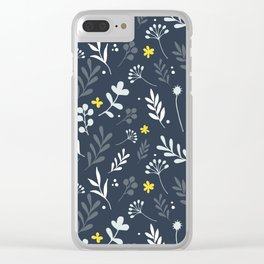 Floral Pattern 1 - Blue Clear iPhone Case