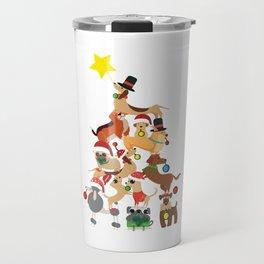 dog christmas tree Travel Mug