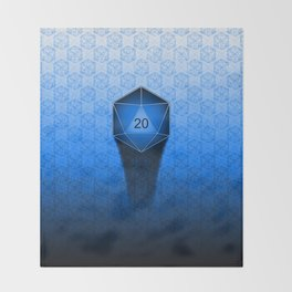 D20 All I Do Is Crit!  Blue Ombre Throw Blanket