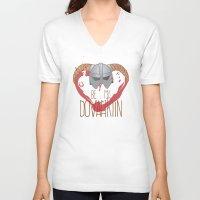 skyrim V-neck T-shirts featuring be my dovahkiin by laPanny