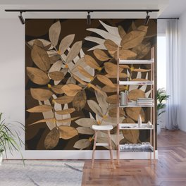 Midnight Leaf Gold Wall Mural