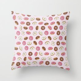 ALL the donuts! Rainbow on Pink Throw Pillow