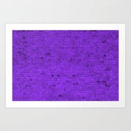 Bright Neon Purple Brick Wall Art Print