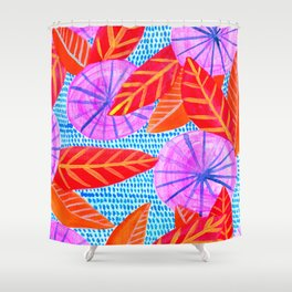 Circles and Leaves Pattern Shower Curtain