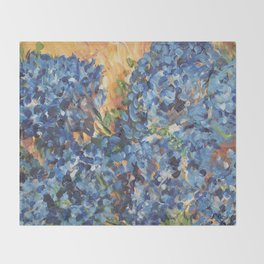 Blue Hydrangea Flowers 2, Blue Abstract, Modern Impressionism Painting Throw Blanket