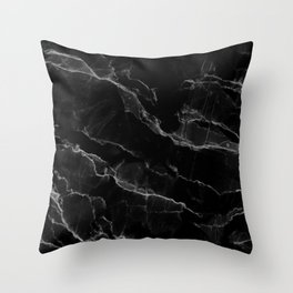 Smoke Black Marble Throw Pillow