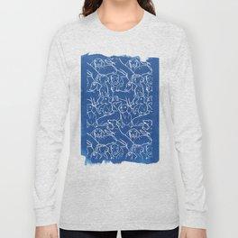 Dachshund Cyanotype Long Sleeve T-shirt