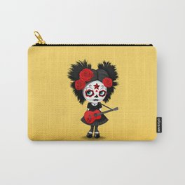 Red and Yellow Big Eyes Sugar Skull Girl Playing the Guitar Carry-All Pouch