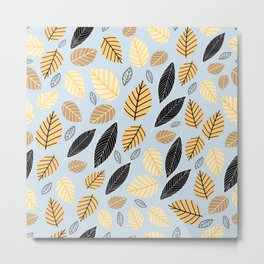 Seamless pattern of autumn leaves on a blue background Metal Print