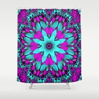 mandela Shower Curtains featuring Flowering for You mandela by thea walstra