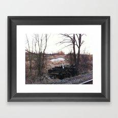 Old train track boards  Framed Art Print