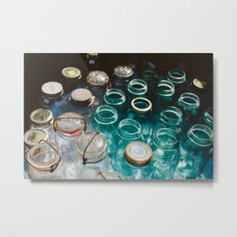 Ball Jars in Blue Metal Print