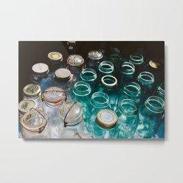 Ball Jars in Blue Metal Print