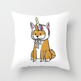 Shiba Inu Unicorn Hat Throw Pillow